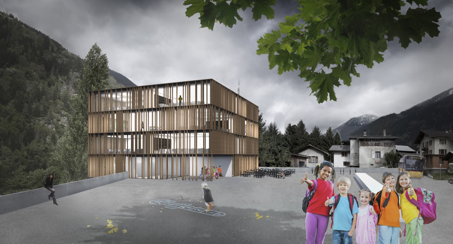 Ecole uape creche et gym meyer architecture sion Meyer architecture